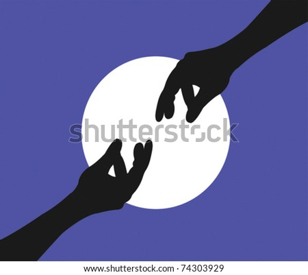 Illustration of two hands reaching - stock vector
