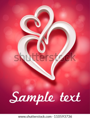 Illustration of two hearts. Vector - stock vector