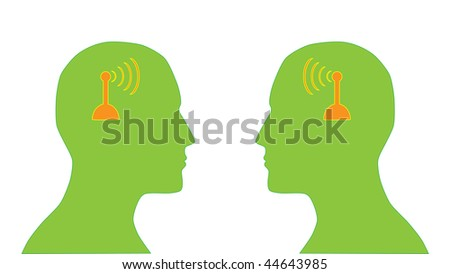 illustration of two human heads silhouette with antenna which symbolize communication - stock vector