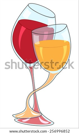 Illustration of two interwoven wine glasses with drinks on a white background - stock vector