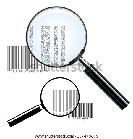 Illustration of two magnifying glasses of different sizes over bar codes enlarging the print showing the commercial inventory identification and pricing data - conceptual of investigation or research - stock vector