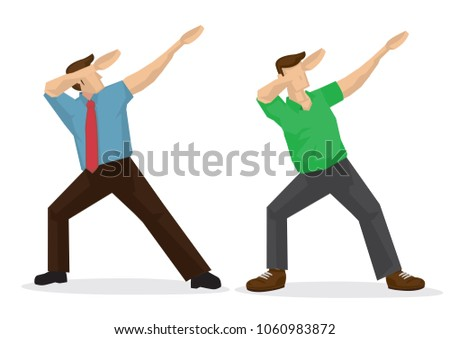 illustration two man doing dab vector stock vector 1060983872