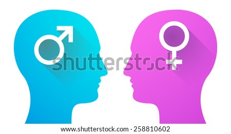 Illustration of two men heads with a male and a female sign - stock vector