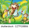 Illustration of two monkeys near the banana plant - stock vector