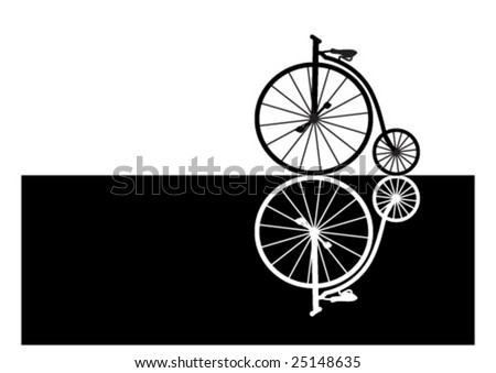 Illustration of two old bicycles, black and white, reflecting on each other - stock vector
