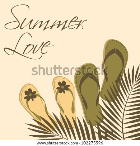 Illustration of two pairs of flip-flops on the beach with palm tree leaves above them. - stock vector