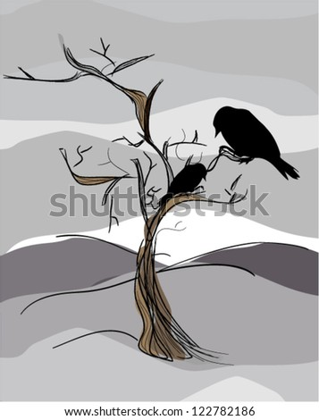 illustration of two ravens sitting on tree with winter landscape - stock vector
