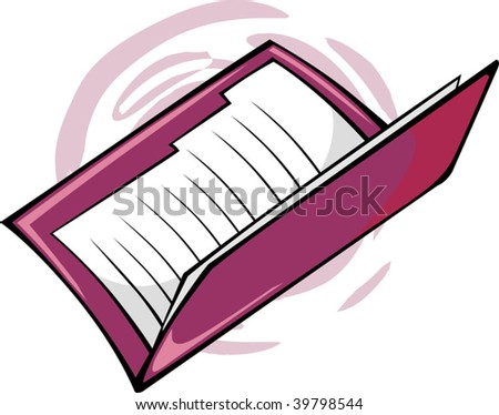 Illustration of two red cover files - stock vector