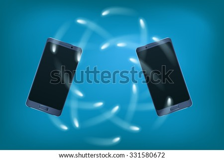 illustration of two smartphones with connection on blue background - stock vector