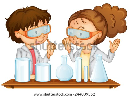 Illustration of two students working in a science lab - stock vector