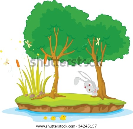 Illustration of  two tree on island - stock vector