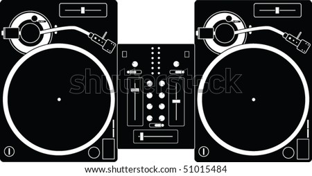 Illustration of two turntables and a mixer. - stock vector