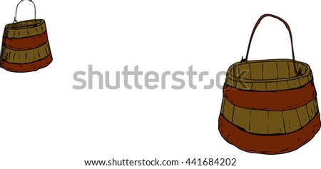 Illustration of two wooden and iron 18th century buckets with handles over white background - stock vector