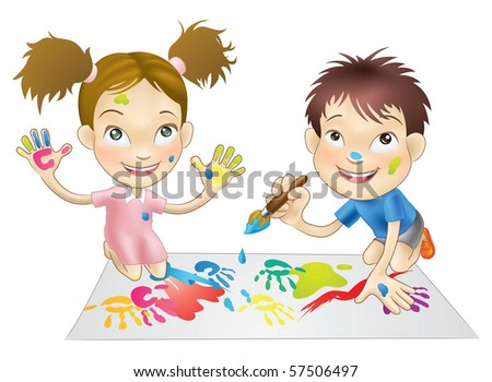 illustration of two young children playing with paints - stock vector