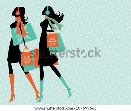 Illustration of two young women shopping on a snowy winter say. - stock vector