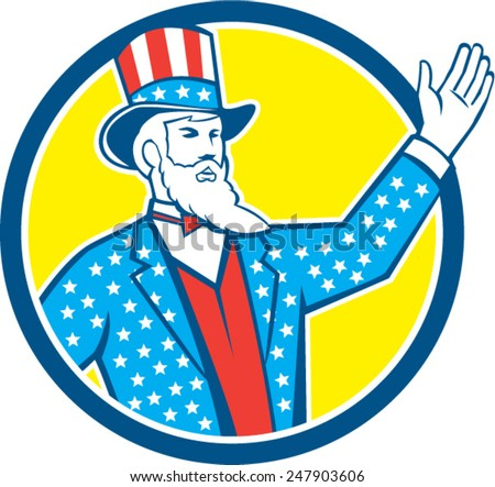 Illustration of Uncle Sam with hand up with stars and stripes American flag design on his hat and clothes set inside circle on isolated background done in retro style.  - stock vector