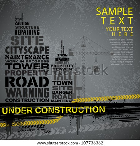 illustration of under construction background with typography - stock vector