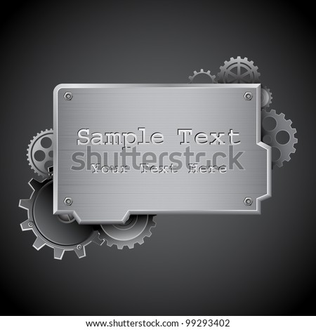 illustration of under construction board on abstract background with gears - stock vector