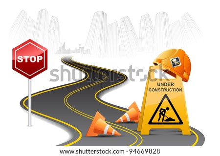 illustration of under construction board on street - stock vector