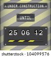 Illustration of under construction concept for websites, with countdown timer on metallic background - stock vector