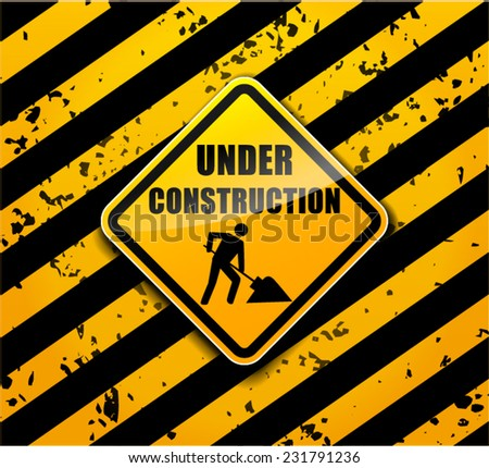 illustration of under construction sign background concept - stock vector