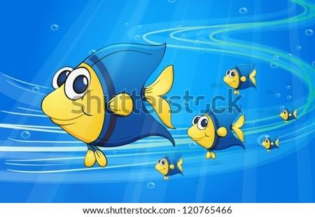 illustration of under water fish - stock vector