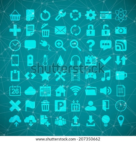 Illustration of 64 Universal Flat Vector Icon Set for web desighers, ui, sites, mobile etc.