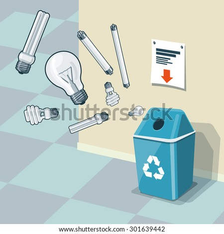 Illustration of used light bulbs and recycling bin for them. Light bulbs and fluorescent lamps are in the air and falling into the blue trash bin standing near the wall. Waste management concept. - stock vector