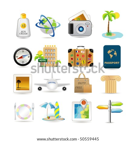 Illustration of vacation and travel icons - stock vector