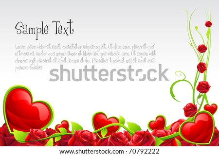 illustration of valentine card with hearts and roses on abstract background - stock vector