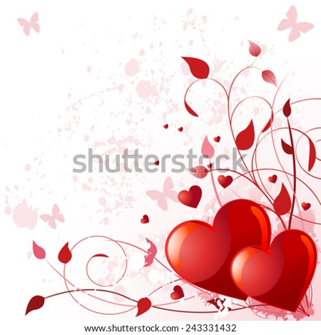 Illustration of valentine day card with heart - stock vector