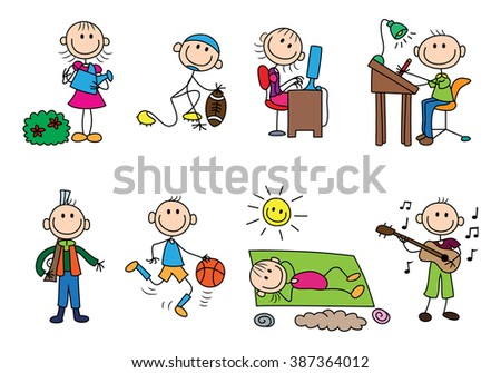 illustration of  variety stick man activity concept on isolated white background - stock vector