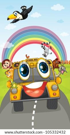 illustration of various animals in school bus - stock vector