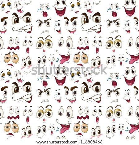 illustration of various face expressions on a white background - stock vector