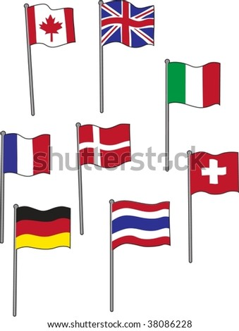 illustration of various flags on white