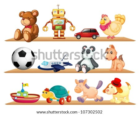 illustration of various toys on a white background