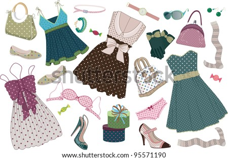 Illustration of various  women's clothing, shoes and accessories in polka-dots  isolated on white background - stock vector