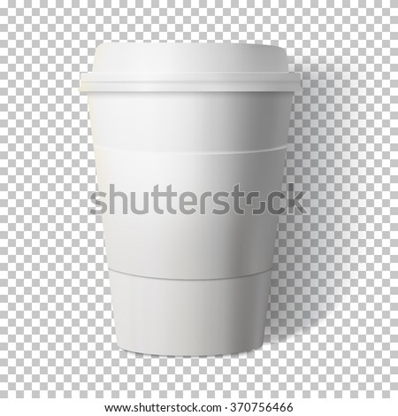 Illustration of Vector Coffee Cup Isolated on Transparent PS Style Background. Photorealistic Vector EPS10 Paper Coffee Cup Mockup - stock vector