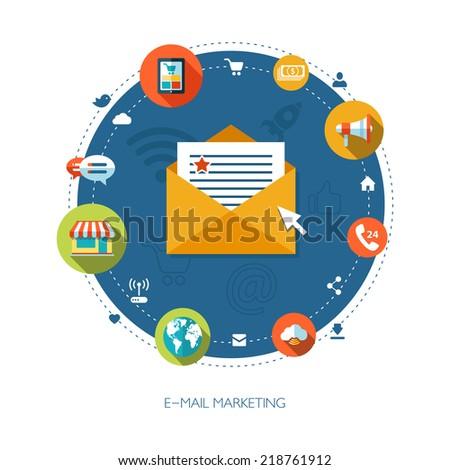 Illustration of vector flat design business marketing composition - stock vector