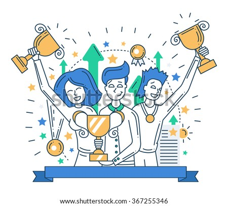 Illustration of vector modern line flat design composition and infographics elements with happy winners - stock vector