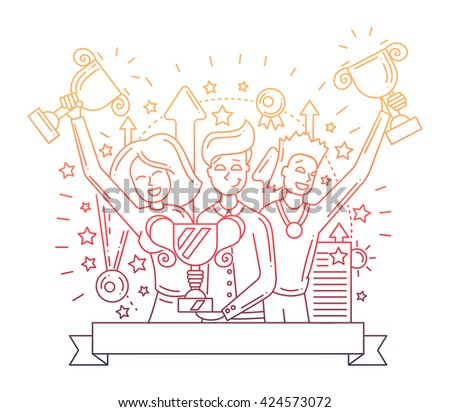 Illustration of vector modern line flat design composition and infographics elements with happy winners - color gradient - stock vector