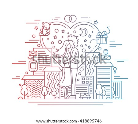 Illustration of vector modern line flat design love and marriage proposal composition with cityscape and infographics elements - gradient color - stock vector
