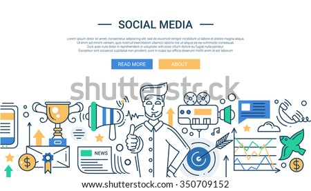 Illustration of vector modern social media promotion line flat design composition and infographics elements with a happy man. Header, banner for your website - stock vector