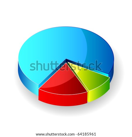 illustration of vector pie chart on an isolated background - stock vector