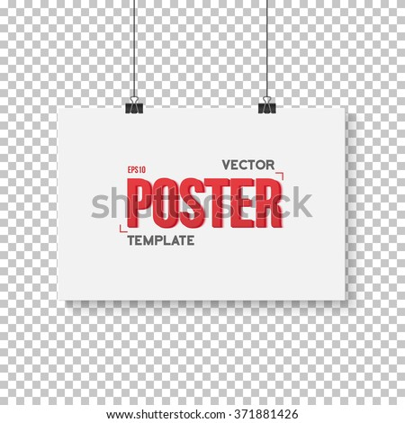 Illustration of Vector Poster Mockup. Realistic Vector EPS10 Paper Horisontal Poster Isolated on PS Style Transparent Background - stock vector