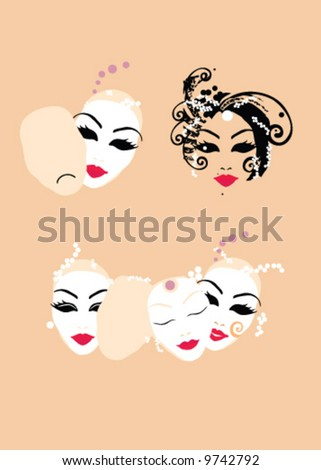 Illustration of venetian carnival masks with different facial expressions