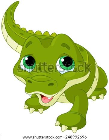Illustration of very cute baby alligator - stock vector