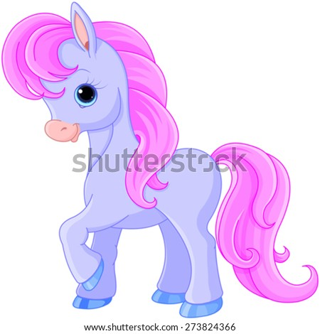 Illustration of very cute fairytale pony - stock vector