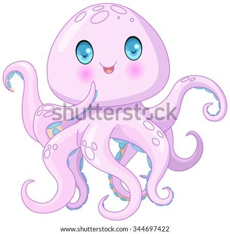 Illustration of very cute octopus  - stock vector