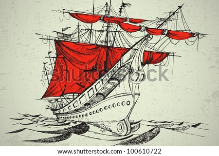 illustration of vintage boat with red cloth - stock vector